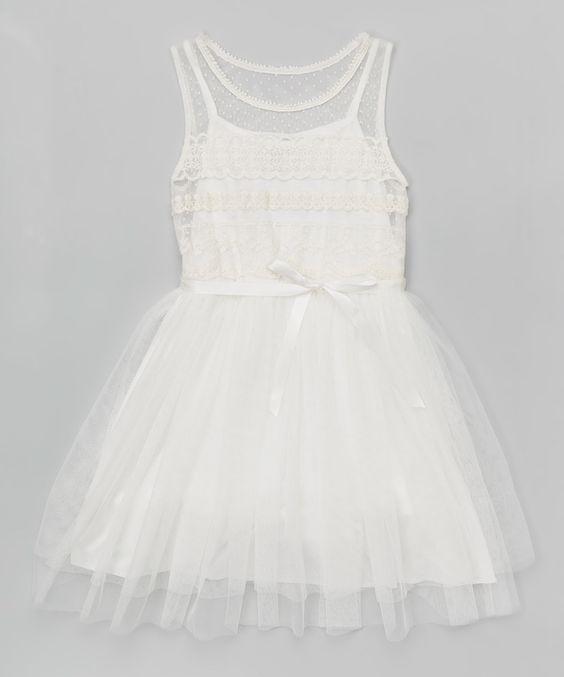 Look at this #zulilyfind! Zunie & Pinky Ivory Lace Overlay Dress - Girls by Zunie & Pinky #zulilyfinds