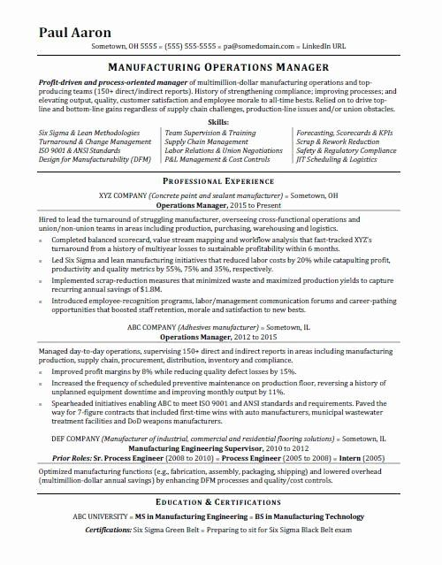 Director Of Operations Resume Examples Best Of Operations Manager Resume Sample In 2020 Operations Management Manager Resume Resume Examples