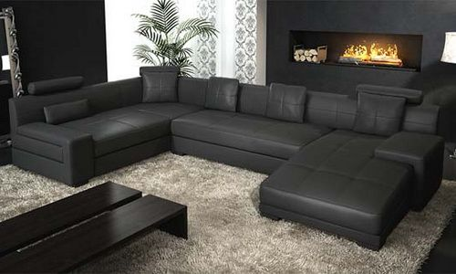 Contemporary Black Leather Sectional By Natuzzi Modern