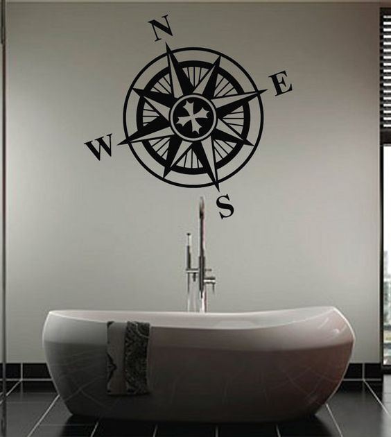 Nautical Wall Decor Pinterest : Nautical ships compass giant wall art sticker by