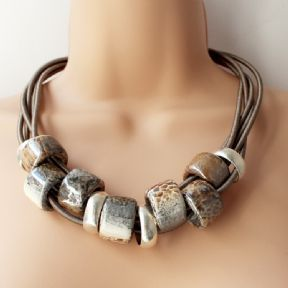 Chunky Greek Ceramic Statement Necklace: