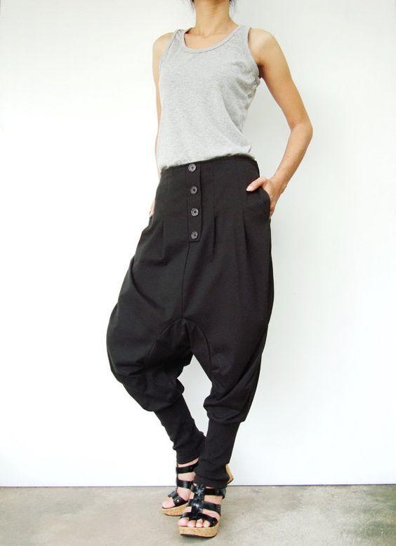 NO.64 Dark Grey  Cotton Jersey Casual Baggy Dance Harem Pants, Stylish Button Fly Drop-Crotch Trousers, Unisex Pants