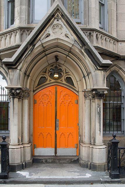 Bright orange church door | Flickr - Dan DeLuca