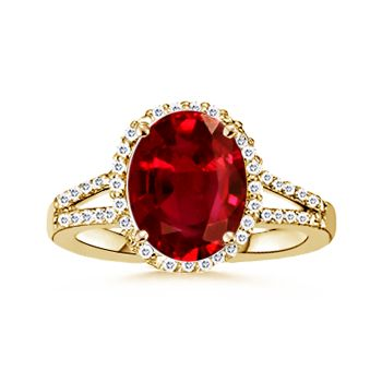 throw some emeralds in there & it's even better :]  Oval Ruby and Diamond Split Shank Ring: Angara