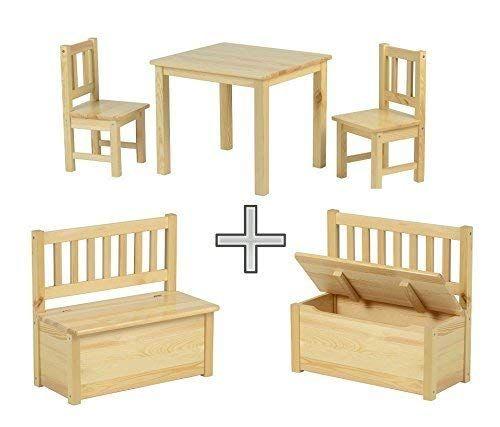Babyday Ensemble Table Et Chaises Pour Enfants 1 Table 2 Chaises 1 Banc Coffre Kit Complet De Meubles Pour Enfants Banc Avec Espace De Rangement Inclus 4 Table Et