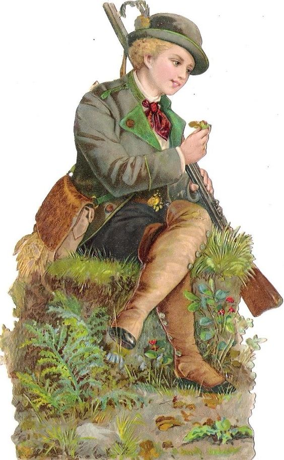 Oblaten Glanzbild scrap die cut chromo Jäger  16cm hunting boy Junge Knabe: