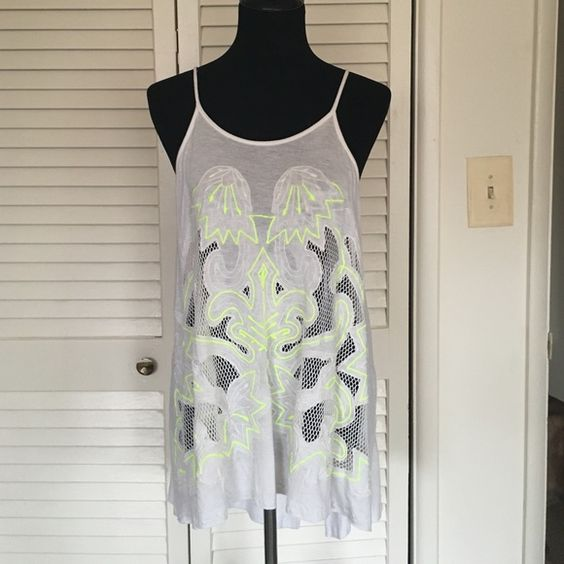free people tank Ivory with neon accents hi lo cut- runs very large as its meant to be oversized Free People Tops