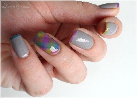Nageldesign - sheer-tint Steppdecke | OPI sheer tints nailart fish braid