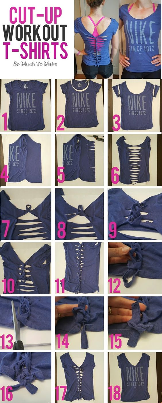 Cut-Up Workout T-Shirt Tutorial   So Much To Make. DIY repurposed woven t-shirt. No sew fashion.