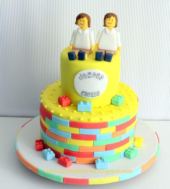 Tarta Fondant Cumpleaños Comunión Personalizada Diseño Lego