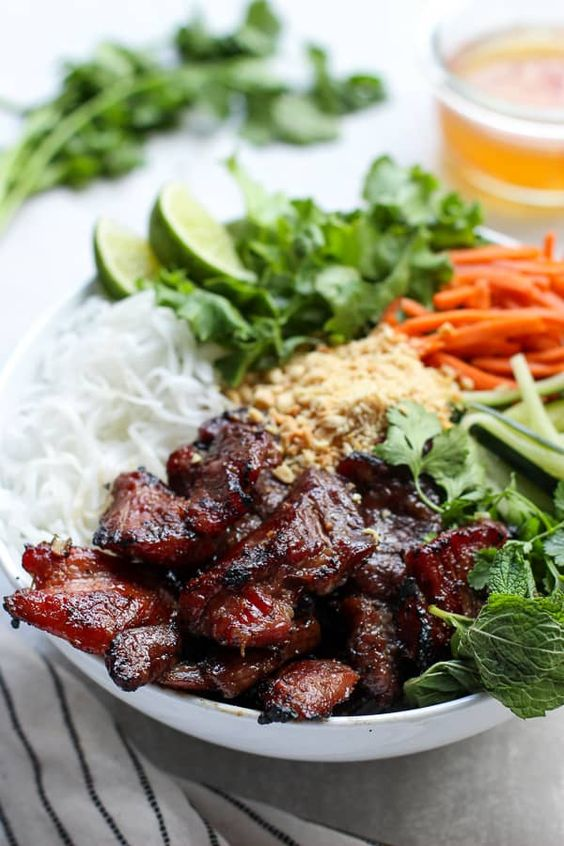 Vietnamese Noodle Bowl with Grilled Pork
