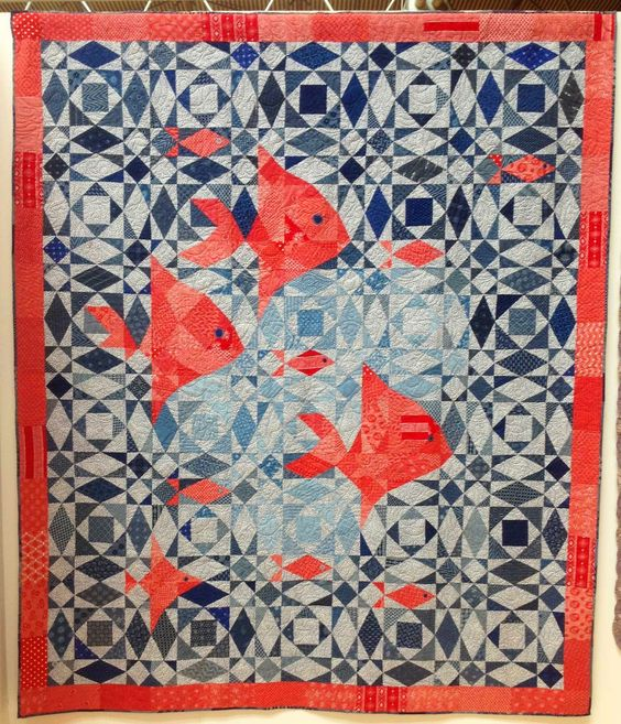 'Fish at Sea' by Pam Stainer.  Storm at Sea quilt. 2014 Festival of Quilts (UK), photo by Fabadashery