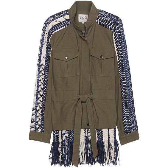 SEA Braided Military Multi // Parka with braided inserts (1,020 CAD) ❤ liked on Polyvore featuring outerwear, coats, military parka coat, military parka, military coat, boho coat and military style coat