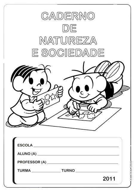 Capa p/ Caderno de Natureza e Sociedade/ Turma da Mônica | Ideia Criativa - Gi Barbosa Educação Infantil