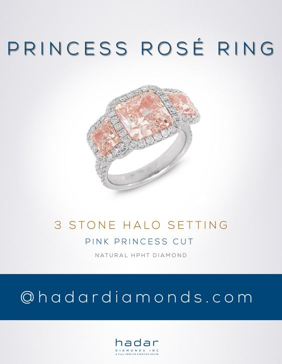 Princess Cut Halo Engagement Rings by HadarDiamonds.com |  #haloengagementrings #princesscutrings #diamondrings