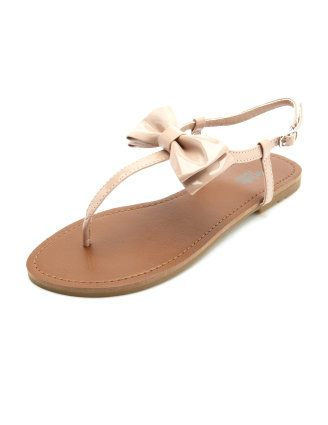 Nude bow sandals