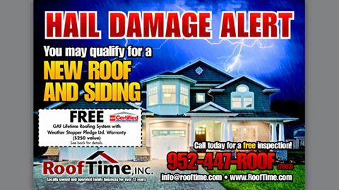 July 2015 Flyer Front Hail Damage Alert From Roof Time