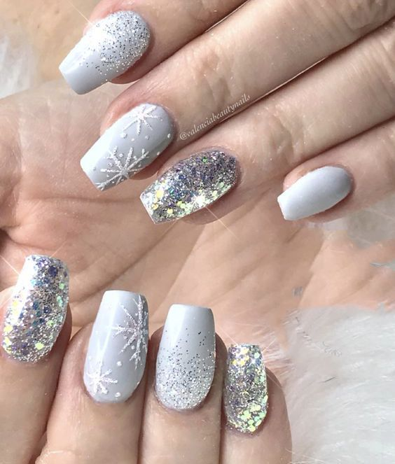 40 Christmas Light Shade Snowflake Coffin Nails Arts in 2019