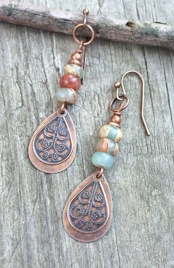 Copper drop earrings, African Opal earrings, copper jewelry