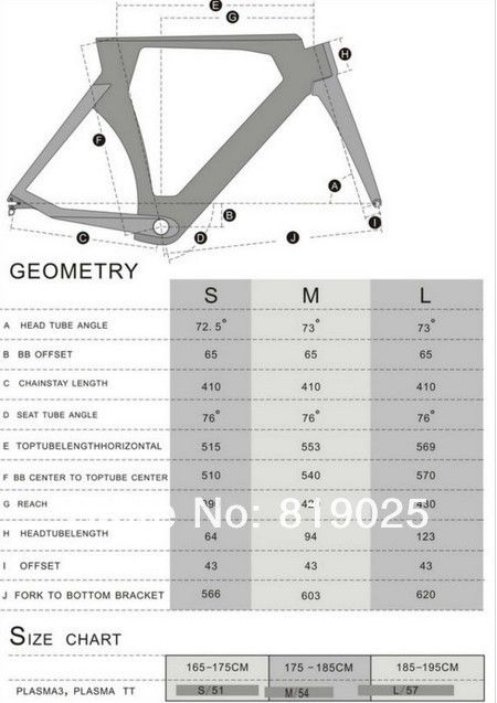 Time Trial Bicycle P5 Frame Size Chart 2012 Cervelo P5