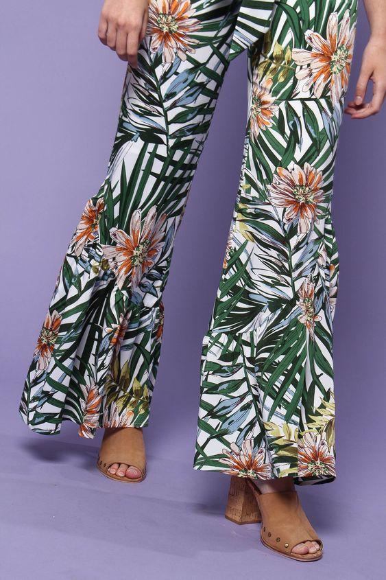 Lucca Alana Wide Leg Pant - Palm Print