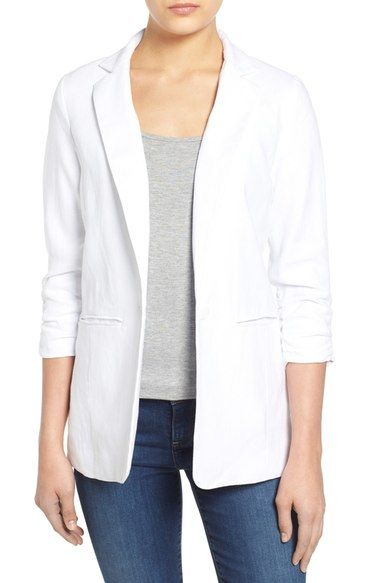 MICHAEL MICHAEL KORS Linen Shirred Sleeve Boyfriend Jacket (Regular & Petite). #michaelmichaelkors #cloth #