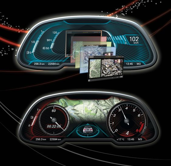 Digital Gauge Cluster : Digital cluster gauge automotive interface pinterest
