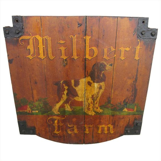 Milbert Farm Kennel Sign   From a unique collection of antique and modern signs at http://www.1stdibs.com/furniture/folk-art/signs/