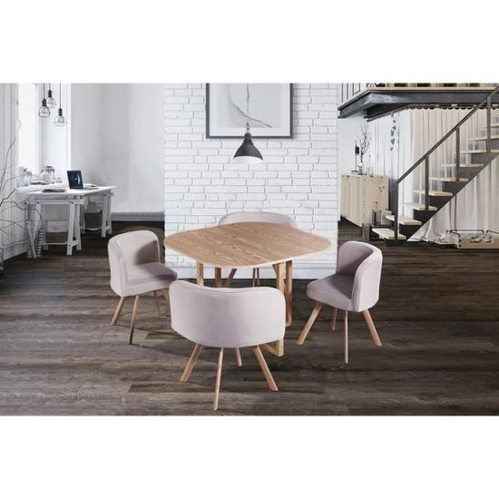 Ensemble Table 4 Chaises Encastrable Beige Flen Table Et Chaises Table Salle A Manger Et Chaises Ensemble Table Et Chaise