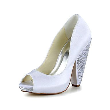 Women's Summer Heels / Peep Toe Satin / Stretch Satin Wedding ...