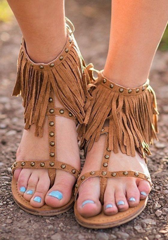 Bohemia Womens Ankle Sandals Flat Heels Tassels Fringe Decor Suede Shoes 2019