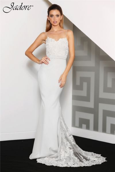 JC8034 by Jadore Evening Dress Company. It features both Neoprene and beaded lace, a match made in fashion heaven.  Stunning as a bridal/destination bridal gown in Ivory, and a perfect Bridesmaid in Red, Navy and Orchid.   A great design for Bride, Destination Bride, Reception Dress, Bridesmaid, Prom, Homecoming, Pageant and Evening Gown. Available for Special Order in sizes 2-26. Visit our website to find out where you can order this great style. WWW.JADOREEVENING.CA