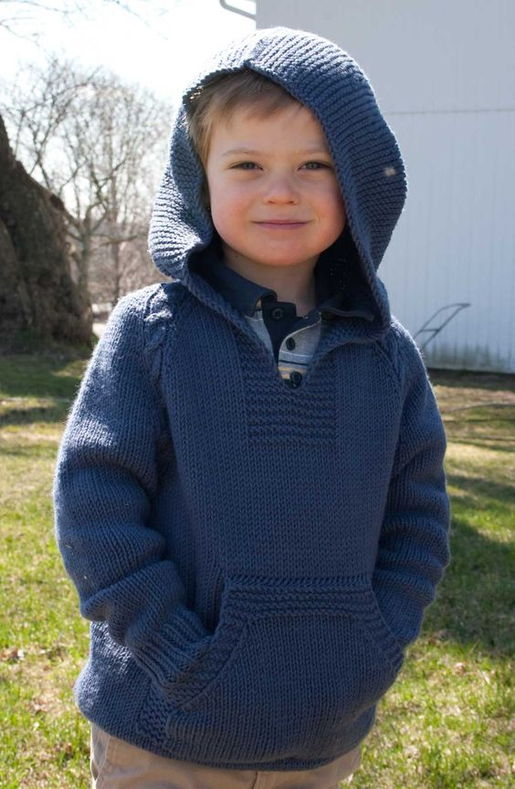 top-down no-sew knit hoodie kids / child hand knit pattern.