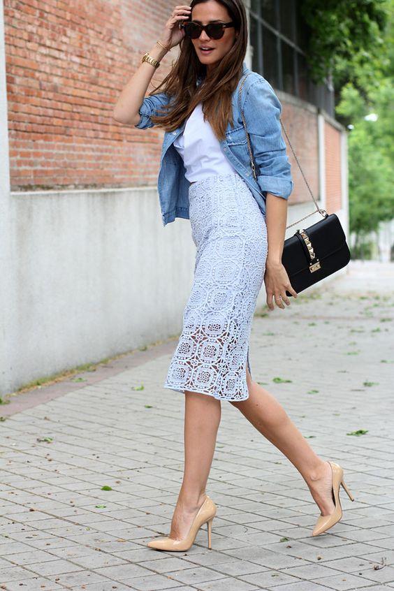 Zara crochet lace midi skirt   Nude Pumps   Denim Jacket   ...