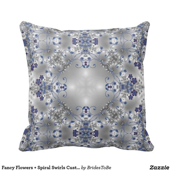 Fancy Flowers + Spiral Swirls Customizable Pillow