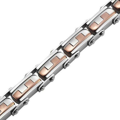 R&B Bijoux - Bracelet Homme - Gourmette Liens Puzzle - Acier Inoxydable (Argent, Bronze): Amazon.fr: Bijoux
