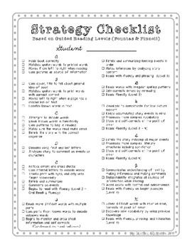 Use this 3-page checklist to keep track of which skills each of your students have mastered. By using this list (based off of Lucy Calkins' TCRWP) you will know when a student is ready to move up to the next guided reading level.   I have this checklist printed for each student in my conferring binder.