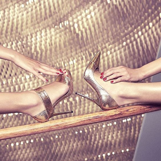 """Reach for gold #JimmyChoo classics #shoeoftheday"""