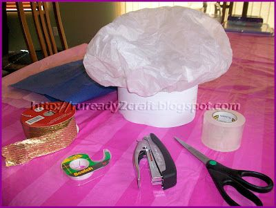Diy tissue paper check baker hat duffer doo pinterest for Paper chef hat craft
