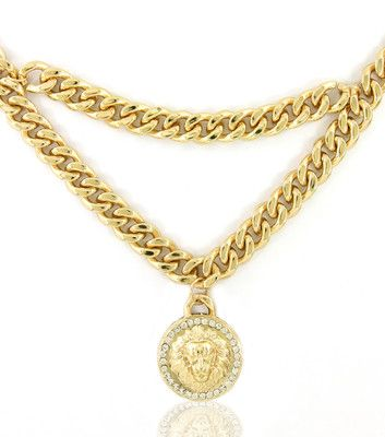 Nicki Minaj Inspired Gold Lion Dangle Medallion Statement Pendant Necklace Link Chain