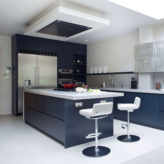 Navy Blue Kitchen With White Gloss Tops