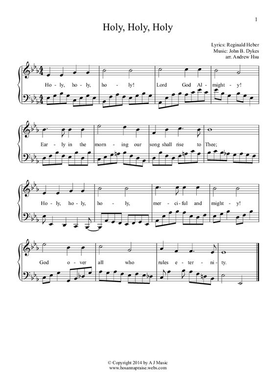 Holy Holy Holy Easy Piano 1 For Solo Instrument Piano By