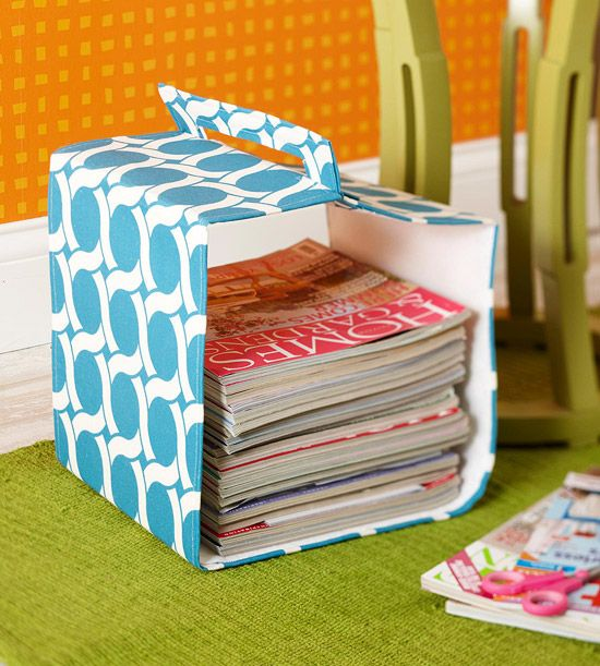 Make this fabric magazine caddy for the readers in your family. Instructions: http://www.bhg.com/christmas/gifts/cute-and-practical-handmade-christmas-gifts/?socsrc=bhgpin122112magazinerack