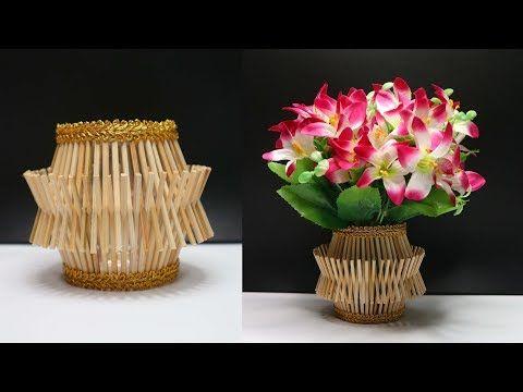 Ide Kreatif Vas Bunga Cantik Kreasi Vas Bunga Dari Tusuk Sate
