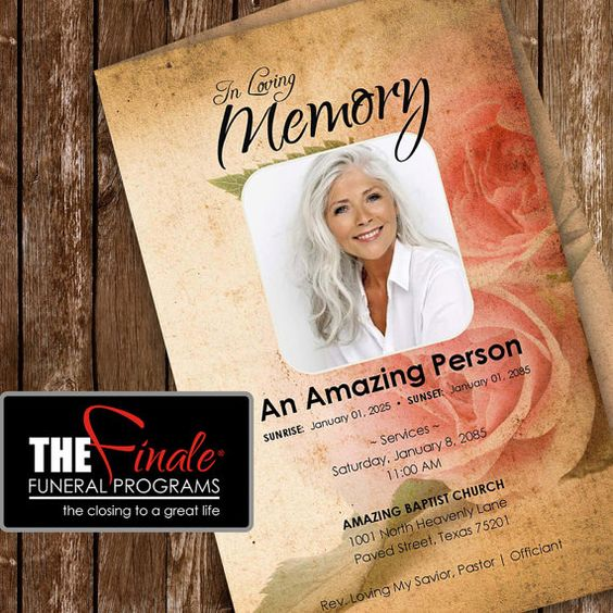 THE VINTAGE ROSE (printable funeral program template) Art - free obituary program template