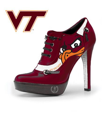 Hokiebird Bootie. Hokiebird Bootie. The Ultimate Hokie Heel by Fan Feet.   Fan Feet and Hokie Heels could go to the next level with Daymond John's marketing Genius.  Put your name suggestion below and repin and you could win a pair when they go into production!      #shopify_contest