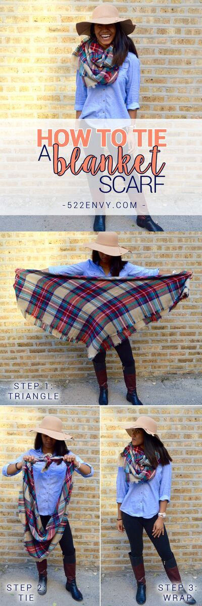 How to wear a blanket scarf: infinity scarf edition! Check out other great ways to tie this plaid blanket scarf HERE! {FYI} They're $25.00 at 522envy.com!!