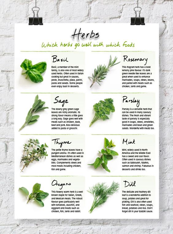 quick reference herb chart at the top sprays and charts