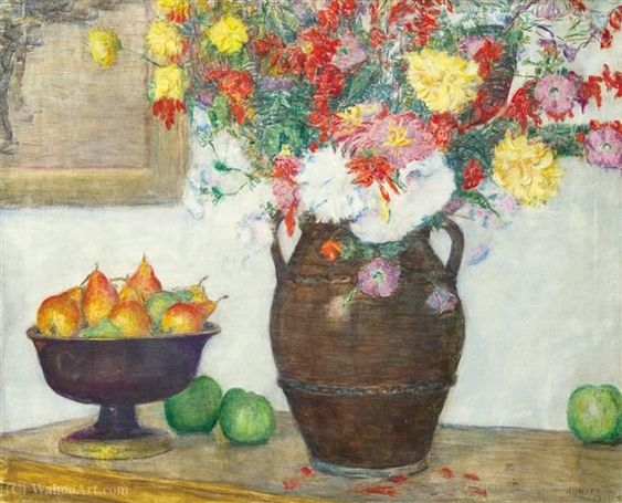 Kunffy Lajos. Still Life with Flowers and Pears