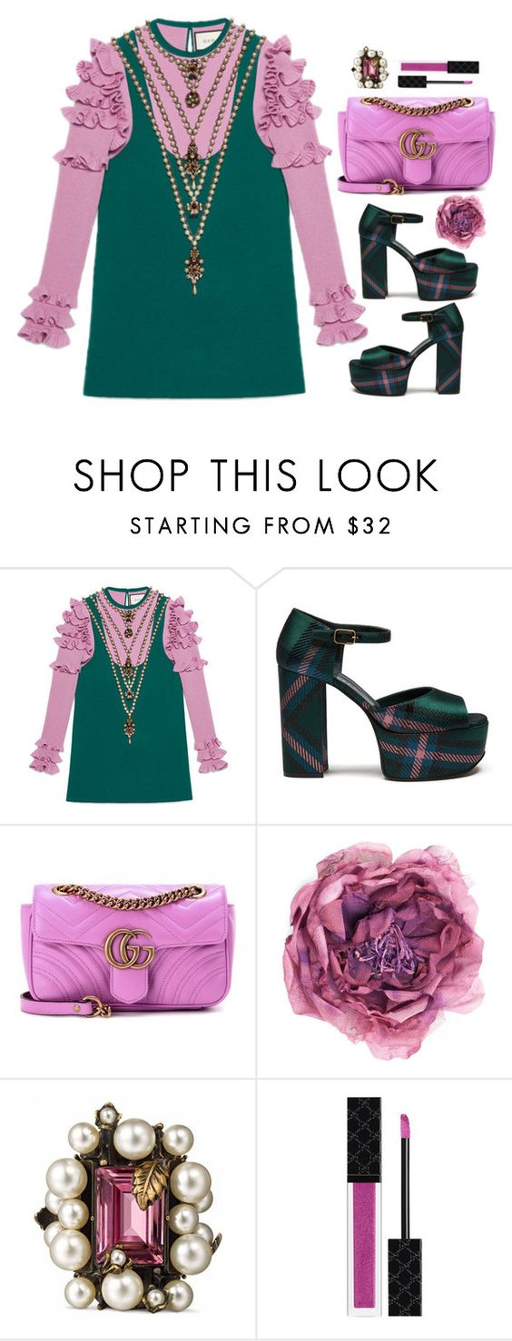 """""""GUCCI & Plaid Platforms"""" by prettynposh2 ❤ liked on Polyvore featuring Gucci, Mulberry and gucci"""